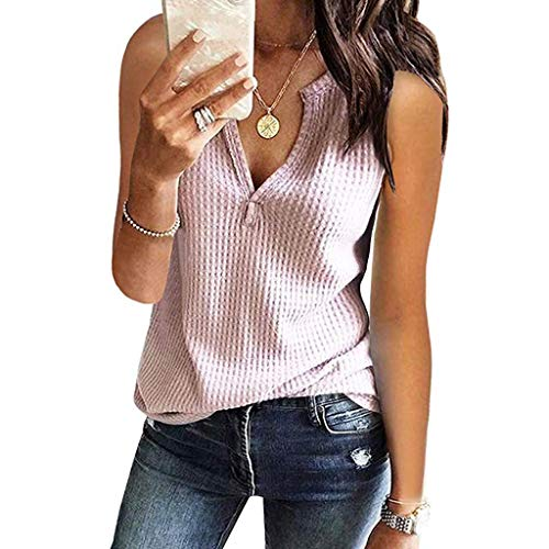 Damen Tank Tops Camisoles Damen Sommer Damen Weste Cami V-Ausschnitt Shirts Ärmellos Solide Waffel Strickweste T-Shirt Lässige Bluse Tops BH Streetwear