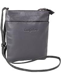 40250150d6b7e Jennifer Jones Taschen Damen 100% Leder Damentasche Handtasche  Schultertasche Umhängetasche Tasche klein Crossbody Bag grau…