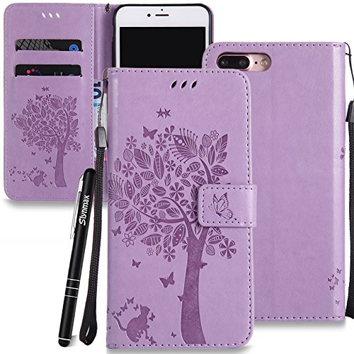 iPhone 7 Plus / iPhone 8 Plus Custodia Oro Rosa,iPhone 7 Plus / iPhone 8 Plus Custodia in Pelle,Slynmax Gatto Albero Sbalzato Copertura Folio Flip Cover PU Wallet Case Per iPhone 7 Plus / iPhone 8 Plu Viola,gatto