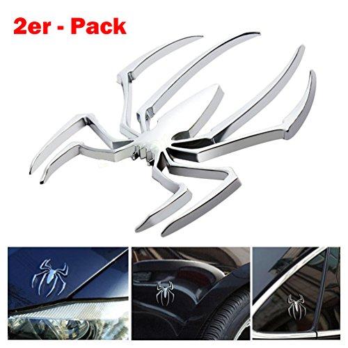Auto Spider Für (2er Pack Auto Pkw Kfz Aufkleber 3D Spider Spinne Emblem Badge Sticker Aufkleber 3D Metall PKW Silber)