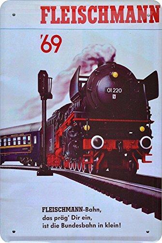 Unbekannt Blechschild 20x30 cm Fleischmann Werbung Dampflok 1969 Eisenbahn Metall Schild