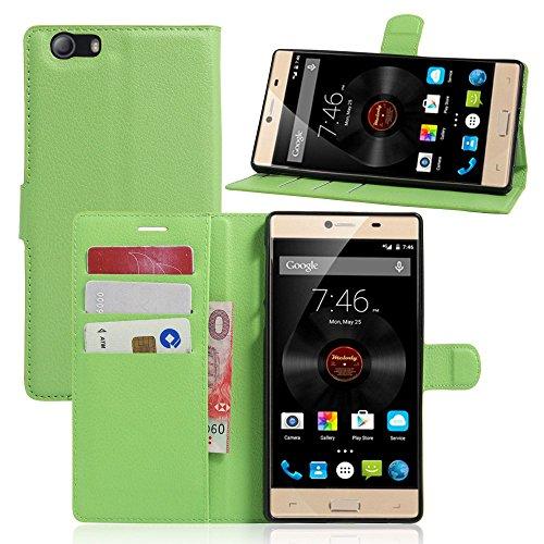 Tasche für Elephone M2 Hülle, Ycloud PU Ledertasche Flip Cover Wallet Case Handyhülle mit Stand Function Credit Card Slots Bookstyle Purse Design grün