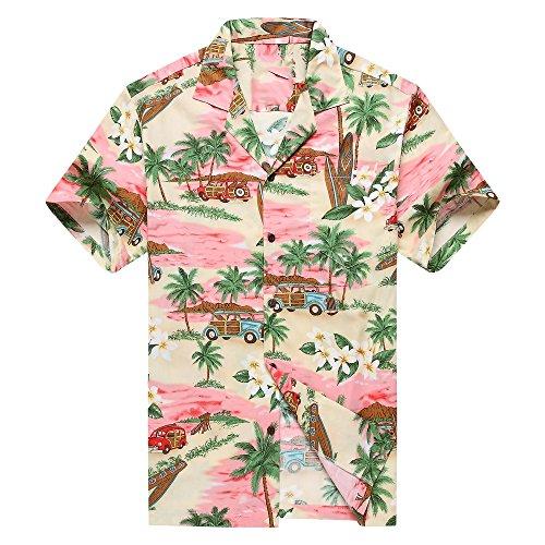Hecho-en-Hawaii-Camisa-hawaiana-de-los-hombres-Camisa-hawaiana-3XL-PlumeriaPalma-Mini-Tablas-de-Surf-Rosado