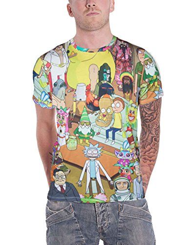 Rick and Morty T Shirt Characters Allover Print Nue offiziell Herren sub dye