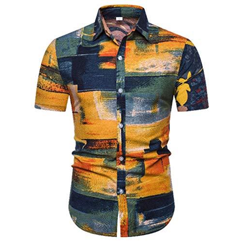 Luckycat Herren Blumen Freizeit Aloha Hawaii Hemd Men Casual Langarm-Leinen Shirts Strand-Hemden Herren Hemd Kurzarm Shirt Sommer Hawaiihemd für Strand Freizeit