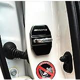 4pcs acero inoxidable cerraduras de puertas de coche cubierta protectora auto Interior protección accesorios puertas fundas para mer-cedes ben-z (negro)