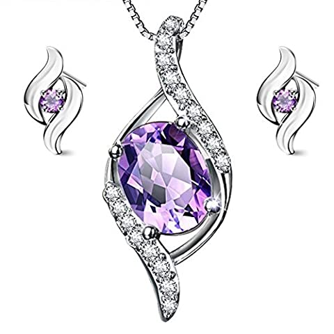 Gilind 925 Sterling Silver Amethyst Necklace and Earrings Set for Women + Gift Box