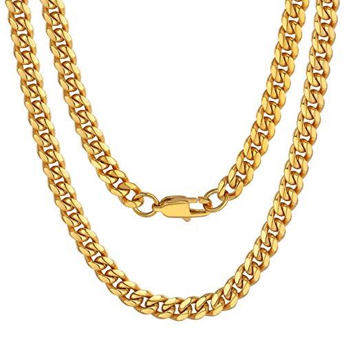 1c71af4b8e2a Curb Cuban Link Cadena Europea Cadena de Acera Collar Acero Inoxidable Oro  Amarillo 6mm Anchura 20