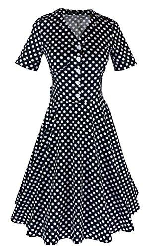 MILEEO Damen 50er A-Linie Retro Kleid mit Polka Dot Print Knielang Falten V-Ausschnitt Kurzarm Gr.34-44 Schwarz
