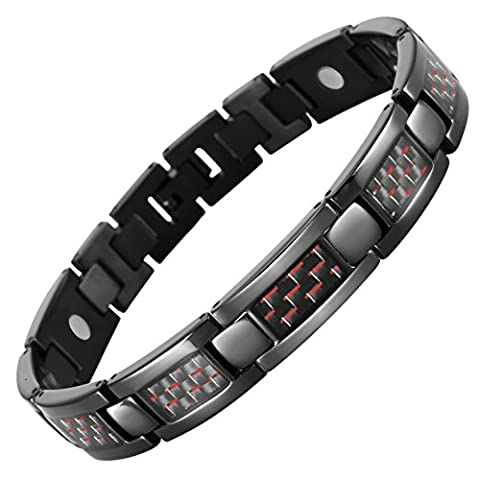 Willis Judd Mens Black Titanium Magnetic Bracelet With Red Carbon Fibre In Black Velvet Gift Box + Free Link Removal