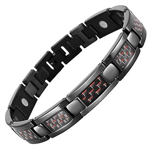 Willis Judd Mens Black Titanium Magnetic Bracelet With Red Carbon Fibre In Black Velvet Gift Box + Free Link Removal Tool