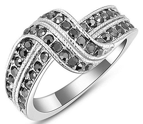 Gnzoe Gioielli, Placcato argento Austriaco Cristallo Doppio Nero Diamante Fidanzamento Anello di Nozze Banda Per Donna