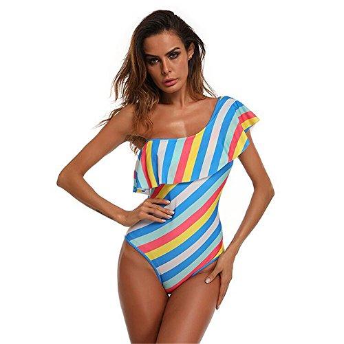 FKLGJ Regenbogen-Badeanzug für EIN Monokini Badeanzug mit gewelltem Balza M (Regenbogen Kitty Kostüm)