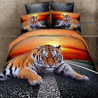 AIURLIFE 3D canvas 100% algodón, ropa de cama set Queen 4 piezas set edredón