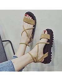 GAOLIM Sandalias Verano Mujer Salvaje Zapatos De Fondo Plano Con Ranuras Para Estudiante Bizcocho Gruesos Zapatos...