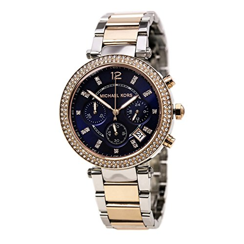 515e2610e4a2 Michael Kors MK6141 Parker chronograph women s watch features a 39mm wide  and 12mm thick two tone rose gold ion plated solid stainless steel case  with ...