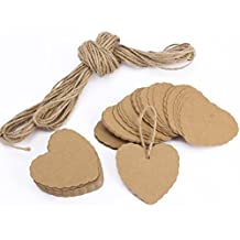 Kanggest 100Pcs Papel Decorativo Papel Kraft Papel en Forma de Corazón Etiquetas de Regalo + 2M Cuerda de Cáñamo