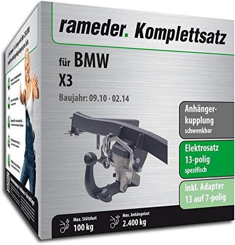 Rameder Komplettsatz, Anhängerkupplung schwenkbar + 13pol Elektrik für BMW X3 (148137-08763-1)