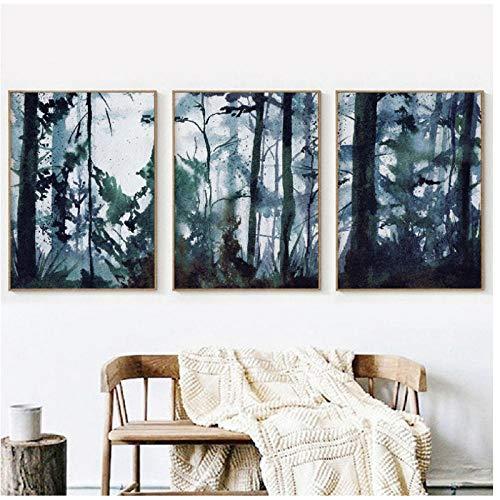 cgsmvp Aquarell Wald Landschaft Wandkunst Leinwand Poster Drucken Original Kunst Malerei Nordic Bilder Home Room Decoration/50x70cmx3Pcs-Kein Rahmen -
