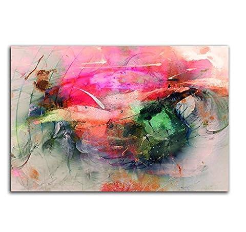 Summerfeeling Kunstdruck Abstrakt419_120x80cm Leinwandbild XXL bunt fertig auf Keilrahmen großes
