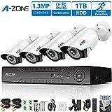 A-ZONE Kit Videosorveglianza Esterno Registratore 8 Canali con Telecamera Videosorveglianza 4 x HD 960P Impermeabile Visione Notturna fuori 1.30 Megapixel Sorveglianza, disco rigido da 1TB