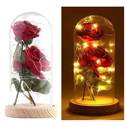 AOZBZ Rote Seidenrose und LED warmweiß Lichterketten in Glaskuppel mit Einer Abnehmbaren Holzfuß Künstliche Dekoration für Home Urlaub Party Hochzeit Valentinstag Kreative DIY Geschenk