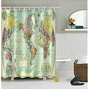 cortinas de baño Cortina de ducha de poliéster resistente al agua Moldy Thick Multi-size Opcional Impresión de 3D creativa Mapa antiguo Cortina de ducha de alta calidad (ancho * alto) cortinas de ducha