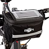 Wasserabweisende BTR-Fahrradtasche und Handyhalterung mit durchsichtigem PVC-Fenster für Tablet oder Handy, zur Befestigung am Lenker bzw. Steuer- oder Oberrohr für Karten und Navigationssysteme