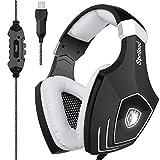 [2018neuaktualisierteUSB-Gaming-Headset]SADES A60/OMG Computer über Ohr Stereo Kopfhörer Kopfhörer mit Mikrofon für PC und Mac mit Rauschunterdrückung & Lautstärkeregelung LED-Licht (schwarz & weiß)