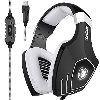 [2018reciénactualizadoUSBGamingHeadset]Sades A60/OMG ordenador sobre oreja auriculares estéreo con micrófono para PC y Mac con reducción de ruido y control de volumen LED de luz (negro y blanco)
