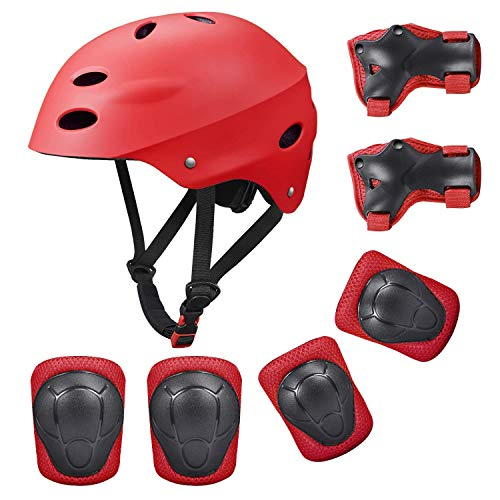 Kids Protective Gear Set, 7 in 1 Adjustable Bike Helmets for Roller Skating Skateboard BMX Scooter Cycling Age 3-8 Years Old Boys Girls (Knee Pads+Elbow Pads+Wrist Pads+Helmet) - Red