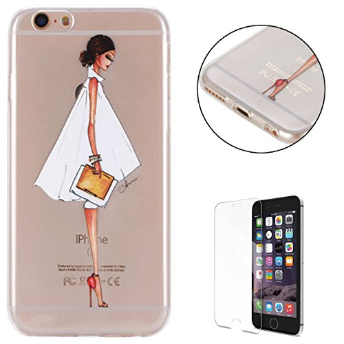 CaseHome for iPhone 6 Plus/6S Plus 5.5'' Hülle Silikongel Weich Gummi Thin TPU Schutz Stoßfest Anti-Rutsch Fall Retro Klassisch Abdeckung Schale Haut-Gesicht Mädchen -