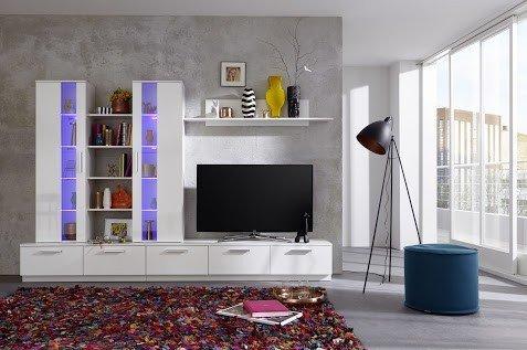 Dreams4Home Wohnkombination 'Palermo', Wohnwand, Anbauwand, Schrankwand, Kombination, Wohnzimmerschrank, Wohnzimmer, (B/H/T) ca. 275 x 180 x 40 cm, in weiß Hochglanz / weiß, Beleuchtung:mit Beleuchtung;Ausführung:mit Glas-TV-Bühne - 4
