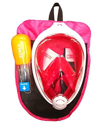 d'origine Neuf Subea par Tribord Easybreath Full Face Masque de plongée plongée Rose Taille S/M (Enfants, pour Femmes, Adolescents) Taille M/L (Adultes)