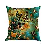 Kissenbezug 45 x 45 cm Schmetterling Malerei Throw Taille Kissenhülle Sofa Home Decor Pillow Cover LuckyGirls (D)