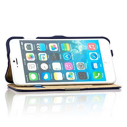 Coque iPhone 6 6S [iCareR Série] Cuir Véritable Housse Etui Poche Flip, fermeture magnetique - Blanc Bleu