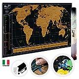 Mappa Del Mondo Da Grattare MuP! | Design Italiano Grande Cartina Geografica Panoramica | Idee Regalo Viaggiatori Poster Mappamondo Planisfero A Graffio | Arredo Parete Scratch The Original World Map