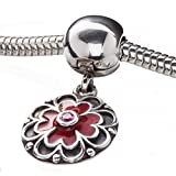 Original PANDORA rot Emaille & Lachs Full Bloom Clip Charm 790957 CZS