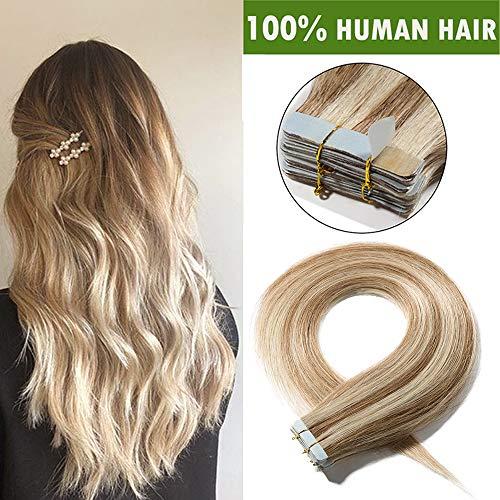 Extension biadesive capelli veri 20 fasce adesive tape extensions con biadesivo 100% remy human hair naturali 50g/pack (55cm, castano chiaro dorato mix biondo chiarissimo)