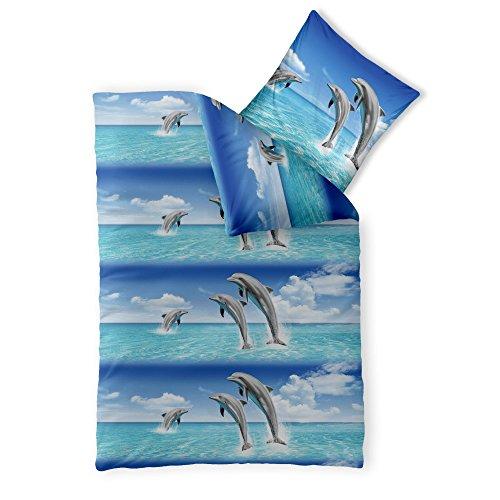 2-tlg. Kinder-Bettwäsche 155 x 220 cm Baumwolle Renforcé 4-Jahreszeiten CelinaTex Bettbezug Fashion Fun 0003373 blau weiß Delfin