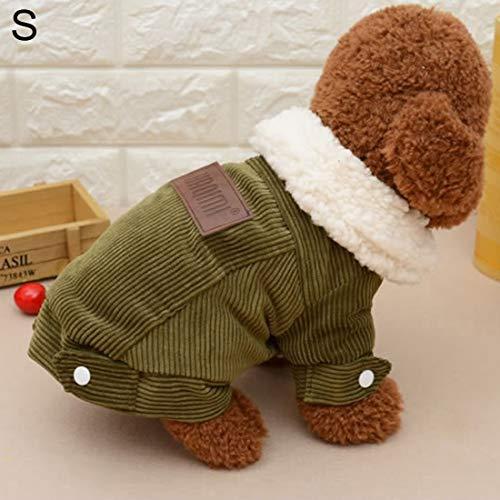 VAXT Indorse Hundejacke aus Cord, Länge 24 cm, Snap: 35 cm, Größen S und Winter-Stil Cord-snap