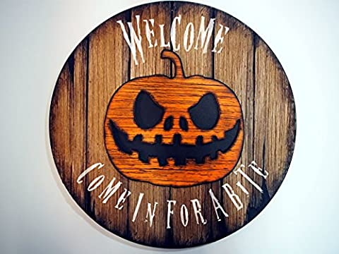 Personalized Sign | Halloween Decorations | Handmade, wooden sign inspired by vintage, wine barrel tops | Your customized message, hand painted on a rustic decor sign with a carved Halloween Pumpkin