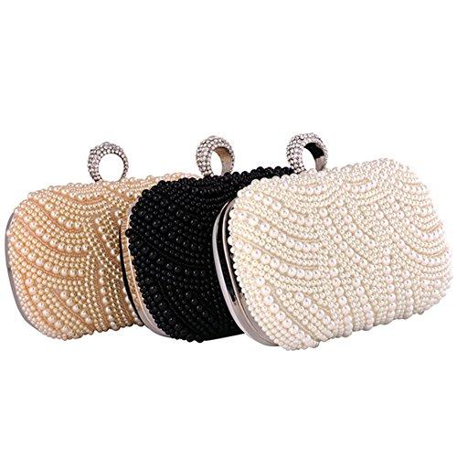 ERGEOB Damen Clutch Abendtasche Handtasche Handmade Clutch Perlen Diamant Ring Schnalle Brauttasche Hochzeittasche Schwarz