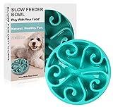 Siensync langsame Fütterung Hundenapf, Interessanter interaktiver Hundenapf, langlebige ungiftige und umweltfreundliche Bambusfaser Futterschüssel(Blau)