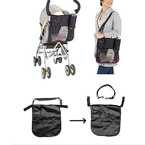 Generic de bébé Noir Landau Poussette Buggy Supports Poche de rangement organiseur de sac Mère Sacs à bandoulière