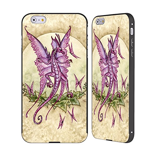 Ufficiale Amy Brown Volo Di Fantasia Mitologico Nero Cover Contorno con Bumper in Alluminio per Apple iPhone 5 / 5s / SE Draghi Che Ballano