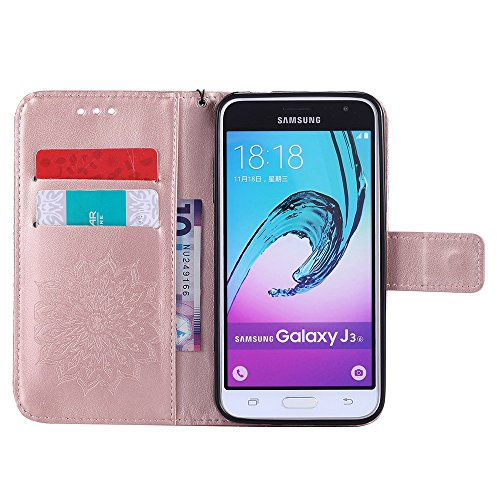 Für Samsung Galaxy J3 Fall, Prägen Sonnenblume Magnetische Muster Premium Soft PU Leder Brieftasche Stand Case Cover mit Lanyard & Halter & Card Slots ( Color : Pink ) Rose Gold