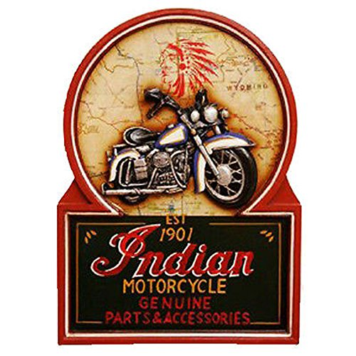 CUADRO RETRO DE MADERA MOTO INDIAN MOTORCYCLE, PUBS BODEGAS