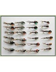 Lot de 24 mouches de pêche nymphes oreilles de lièvre et queue de faisan
