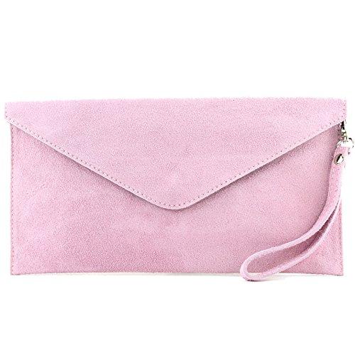 modamoda de - T106 - ital Clutch/Abendtasche aus Wildleder, Farbe:Rosa Rosa Tasche